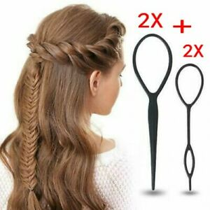 4pcs Topsy Tail Hair Braid Ponytail Maker Styling Tool