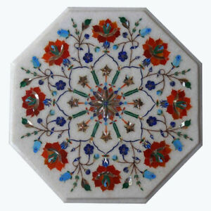 "12""x12"" Coffee And Dining Table Top Marble Mosaic Flower Inlay Decor Art"