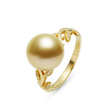 10.8mm Round Deep Golden Real South Sea Pearl Ring 14k Solid Yellow Gold 6.5#