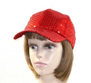 Red Lightweight Satin Sewn On Sequins Baseball Cap Hat Society Ladies