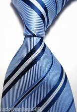 New Classic Stripes Baby Blue White JACQUARD WOVEN 100% Silk Men's Tie Necktie