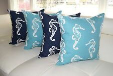 Sea Horse Coastal Blue / Navy Blue Nautical Throw Pillows, Beach Decor - 4 Pack