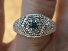 .16ct SI1 SPARKLING NATURAL BLUE DIAMOND RING  w/ART DECO FILIGREE HAND CARVED