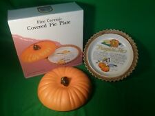 Fine Ceramic Pumpkin Pie Plate w/ Recipe & Original Box HOLIDAYS EXCELLENT