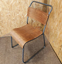 RETRO CAFE CHAIR METAL BENTWOOD PLY SEAT STACKING BAR INDUSTRIAL SCHOOL VINTAGE