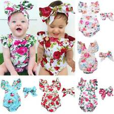 Newborn Infant Baby Girl Floral Romper Jumpsuit Sunsuit+Headband Outfits Clothes