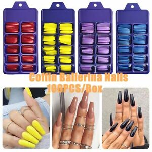 100Pcs/Set Acrylic False Nail Tips Full Cover Long Coffin Fake Nail Art Manicure