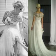 Crystal/Diamante Lace Boat Neck A-line Wedding Dresses