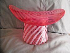 LG Vintage Fenton Pink Cranberry Opalescent Spiral Swirl Stripe Glass Top Hat