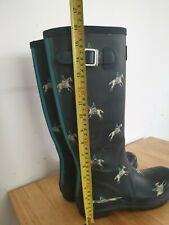 Joules Wellies Navy Blue Horse Rider Print Size 8 Wellys