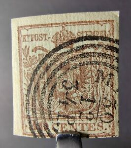 AUSTRIA LOMBARDY VENETIA STAMP 1850 30c BROWN ARMS RIBBED PAPER, Sc #5a