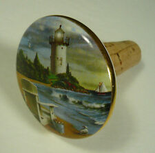 Alan Giana Porcelain Bottle Stopper Lighthouse Adirondack Chair