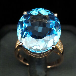 TOPAZ SWISS BLUE OVAL 19 CT. SAPP 925 STERLING SILVER ROSE GOLD RING SZ 7 GIFT