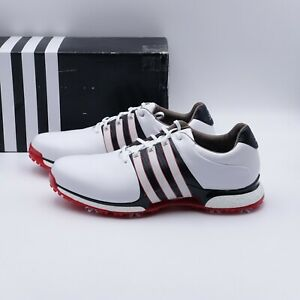 Size 15 Men's adidas TOUR360 XT Waterproof Leather Golf Shoes BD7124 White/Red