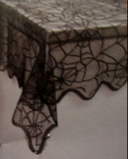 "30""  x  40"" Halloween Black Widow Lace Tablecloth Spider Web Design"
