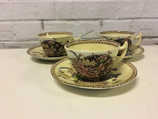 Vintage Clarice Cliff Newport Pottery Ophelia Pattern Set of 3 Cups & Saucers