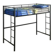 Pemberly Row Metal Twin Loft Bunk Bed in Black