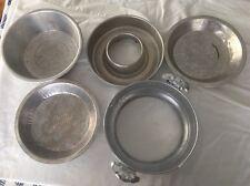 Vintage Various Set Of 5 Aluminum Ware Pie Plates Bowls Mold