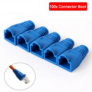 100pcs Blue RJ45 Network Cable Connector Cover / Boot for CAT 5/6