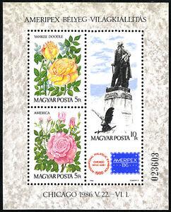 Hungary 2987 S/s, MNH. Roses: Yankee Doodle,America. Statue of G.Washington,1986