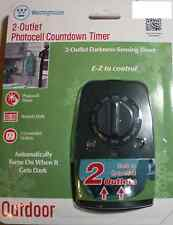 Westinghouse 2 Outlet Photocell Countdown Timer Outdoor Darkness Sensing NEW