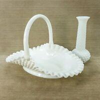 "Fenton Milk Glass Hobnail Ruffled Edge 12"" Oval Basket Bowl & Brody Bud Vase USA"