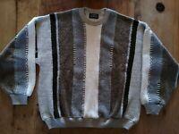 Vtg Tundra Bachrach Men's Crew Neck Brown Biggie Hip Hop Cosby Sweater Sz XL