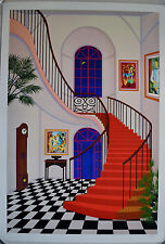 FANCH LEDAN INTERIOR WITH RED STAIRCASE SERIGRAPH SIGNED #376/450 W/COA 23X34