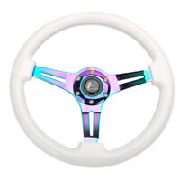 "Hiwowsport 14"" White Wood Steering Wheel 6 Bolts 1.75"" Depth  Neo Chromed Spoke"