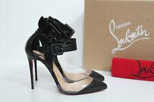 sz 7.5 / 38 Christian Louboutin Multimiss Black Leather PVC Ankle Pump Shoes