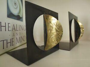 Vintage Modernist Gold Leaf Metal Bookends Modern Zen Decor MCM Minimalist Brass