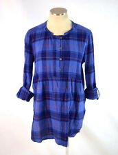 HOLDING HORSES Blue Plaid Henley Long Sleeve Duster Tunic Shift Shirt Womens M