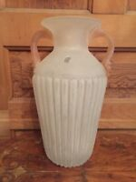 Vintage Vetreria Operaia LUX Large Art Glass Vase Made In Italy Pink and White