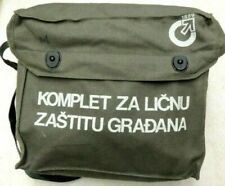Serbian Army Dark Green canvas Gas Mask Bag Hiking Camping Biking Pack Satchel