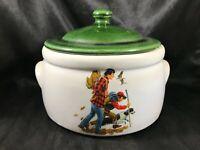Vintage MCCOY POTTERY 1421 Crock Bean Pot Hunting Hiking Design