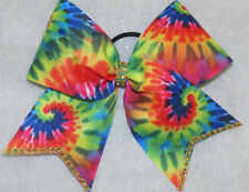 TIE DYE Cheer Size Hair Bow with gold gems on tails and center