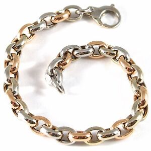 18k ROSE & WHITE GOLD BRACELET SMOOTH BRIGHT ALTERNATE OVAL ROLO, MADE IN ITALY