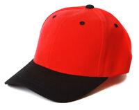 Plain Blank Baseball Hats Adjustable Caps, Red Black