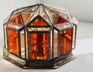 ✨ Red Orange Geometric Glass Mirror Flush Mount Wall Porch Lamp Light Lantern