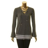 MICHAEL KORS NEW Women's Polka Dot Lace Up Bell Sleeve Blouse Shirt Top TEDO