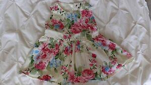 Handmade Floral Baby Girl Short Dress 12-18 Months Long Top Pink Blue Summer