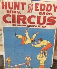 Vintage Original Hunt & Eddy Brothers Combined Circus Poster Acrobats