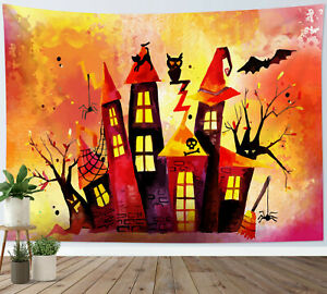 Watercolor Haunted House Tapestry Halloween Wall Hanging Home Bedspread Cover