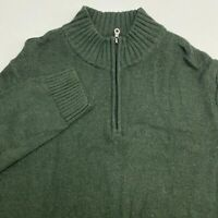 Croft & Barrow Quarter Zip Sweater Men's Size 2XL XXL Pullover Green Chunky Knit