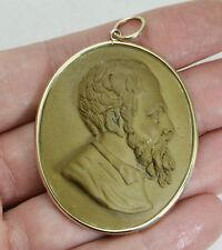 Antique 9ct YELLOW GOLD Victorian HUGE Male Portrait Italian LAVA CAMEO Pendant