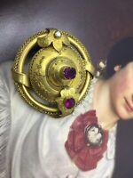 Antique Georgian Victorian Pinchbeck Garnet Almandine Red Paste Pearl Old Brooch
