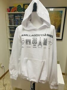 Karl Lagerfeld Paris Icons Landmarks Graphic Hoodie Sweatshirt White Women's M