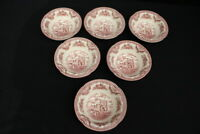 Johnson Bros England 1883 Demlrgh Castle Pink/Red Set of 6 Cereal Bowls 6""