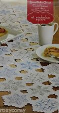 Christmas St Nicholas Square White Snowflake Cutout Table Runner 14x54 in NWT
