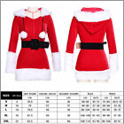 Women Xmas Hooded Novelty Outfit Sexy Mrs Claus Corset Santa Costume Fancy Dress